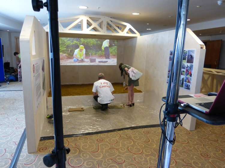 Footage from the dig taking place at Caerau is projected inside The Virtual Dig ...