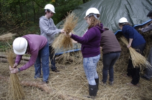 Bundling the straw together for the thatch