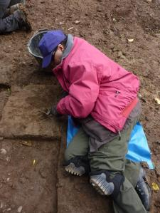 Digging square 33 in Trench 3