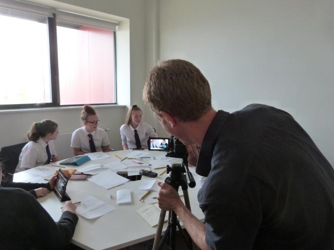 Jon Harrison filming the Model Village workshop at The Glamorgan Archives