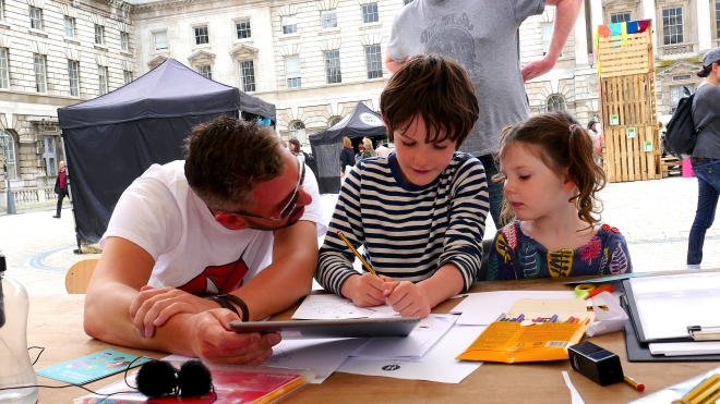 Dan Jewson helps our young visitors to create a short animated film sequence.