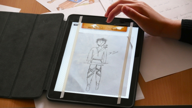 One of the many beautiful drawings of Medieval characters created during the workshops.